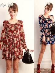 sweet floral printed high waist dress