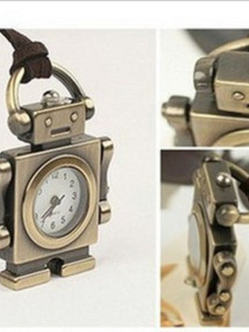 robot time pocket watch necklace