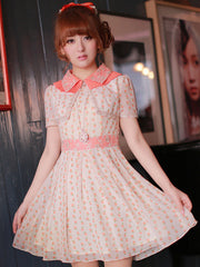 Korean style collared cherry dress