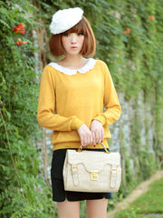 ginger yellow sweater with lace collar