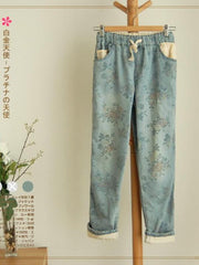 vintage floral rolled cuff jeans