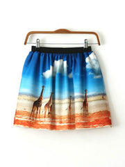 wild African scenery pocket skirt