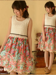 lace floral stitching dress