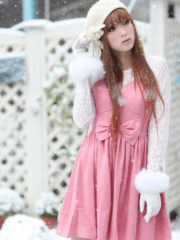 wood house pink with white lace princess dress