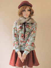 English rose knit pullover with fur collar