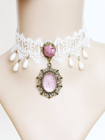 moon fairy white lace necklace collar