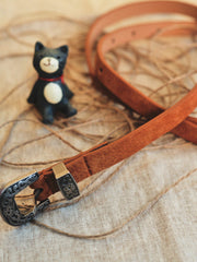 knotted carved floral leather belt
