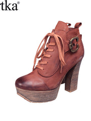 vintage leather lace up bootie