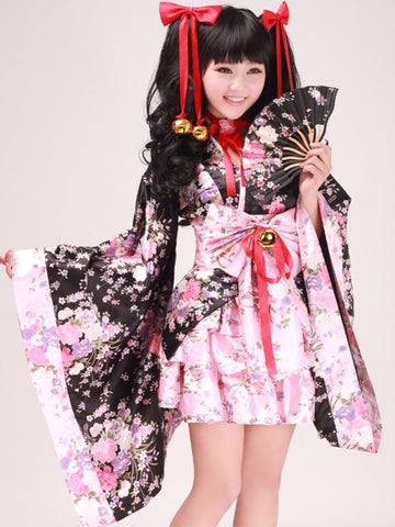 Kimono sakura cosplay set with jingle bells