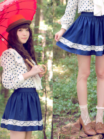 lace ruffle blue skirt