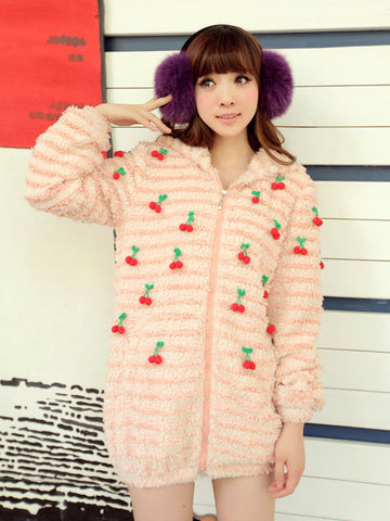 sweet cherries fluffy hooded coat