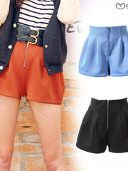 slim high waist zipper shorts