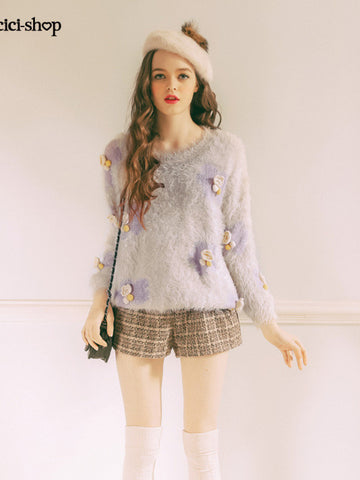 fuzzy crochet flower sweater