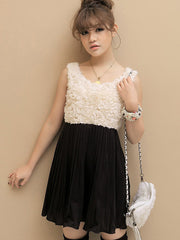 sleeveless rosette chiffon dress