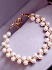 pearl weaved princess bracelet/earring