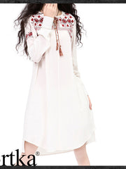 tri-bow embroidery shirt dress