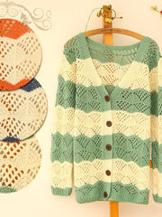 v-neck pierced striped knit cardigan