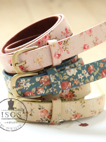 Clearance -  Mori girl blossom copper buckle belt