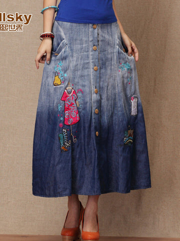 Clearance - applique embroidery denim skirt