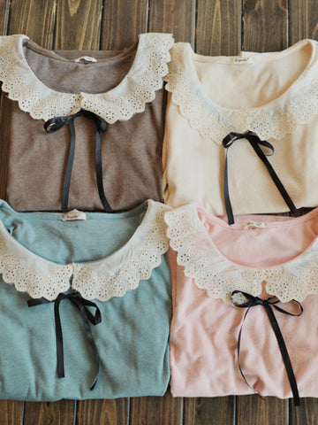sweet doll collar ribbon bow tee