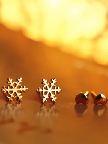 winter snowflake love four set of earring studs