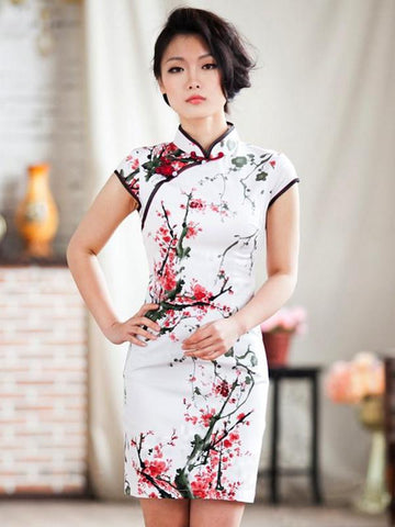 plum blossoms Mandarin dress