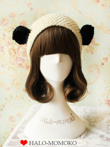 knitted headband with panda ears