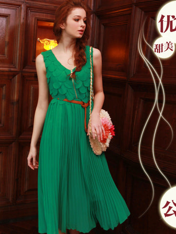 Mermaid tales pleated chiffon dress