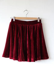 Spring collection - velvet solid color pleated skirt