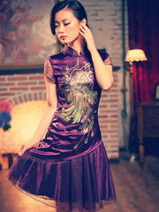 Phoenix embroidery Mandarin tulle dress