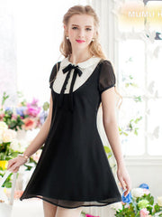 Clearance - scholarly chiffon bow dress