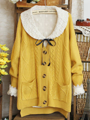 square pocket loose knit cardigan