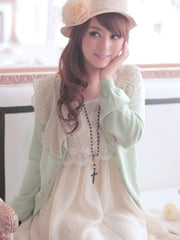 love lace lantern sleeved cardigan