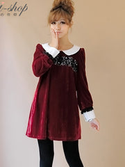 red rose velvet long sleeve dress