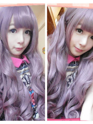 Harajuku gradient purple curly wig