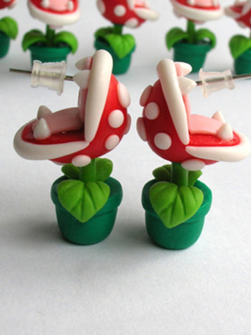 Super Mario Piranha flower stud earrings