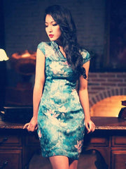 shimmer lotus retro Chi-Pao dress