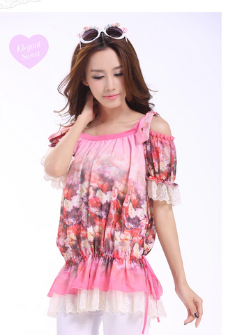 rosy bare shoulder chiffon blouse