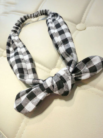 plaid bow hair band