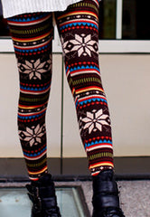 warm tone snowflake holiday leggings