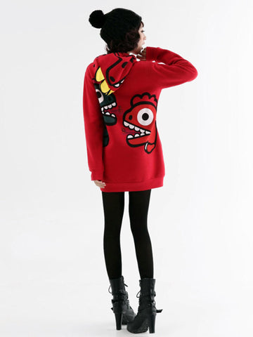 cartoon dino fleece hooded pullover