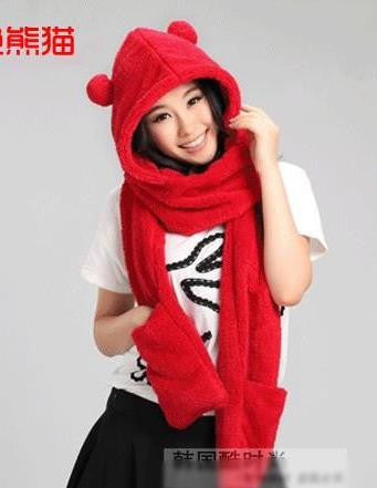 red panda holiday hat & mitten set