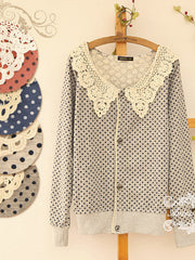 sweet little dots pierced collar cardigan