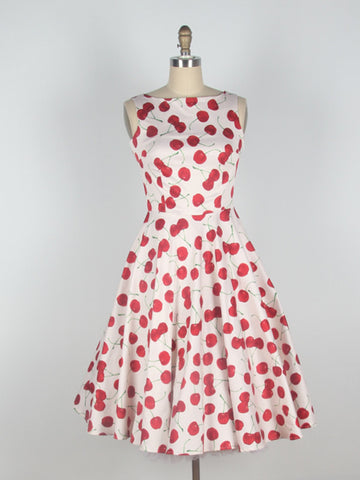 sweet and sour cherry retro long dress