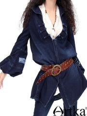 ready for fall knitted denim coat