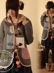 toggle patches hooded coat