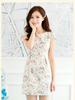 retro rose slim dress