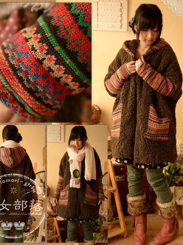 forest tribal hooded sweater coat