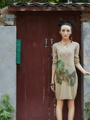 lotus bare collar sweater dress