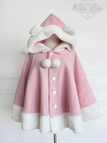 bear ears wool cashmere cape